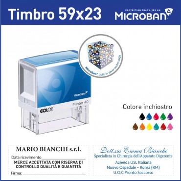 Timbro tascabile antibatterico microban - mm 38x14